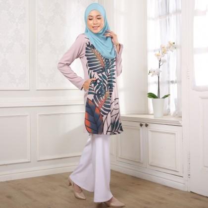 Kurung Batik Daun - Purple