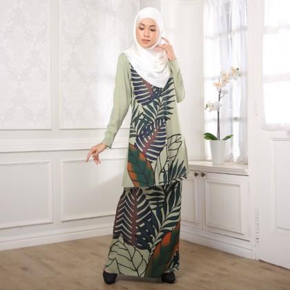 Kurung Batik Daun - Green