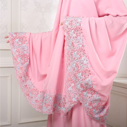 Telekung Sulam Floral - Pink
