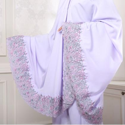 Telekung Sulam Floral - Lavender
