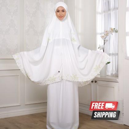 Telekung Sulam Ruby - Off White