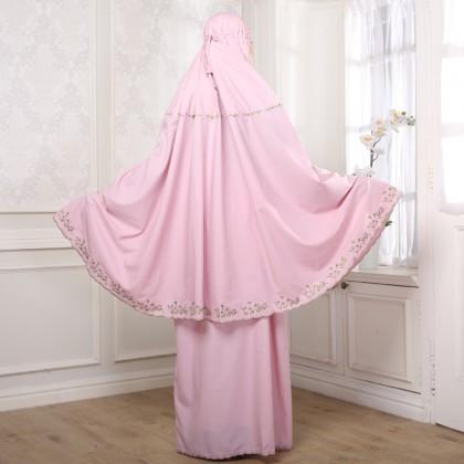 Telekung Cotton - Pink
