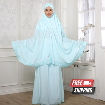 Telekung Sulam Lux - Baby Blue