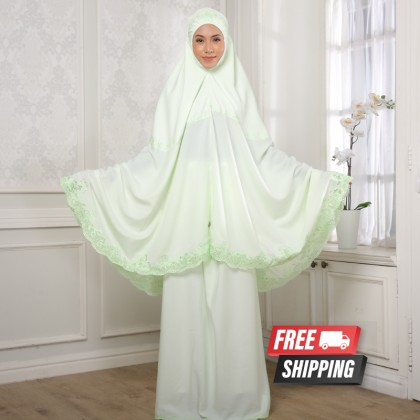 Telekung Sulam Lux - Apple Green